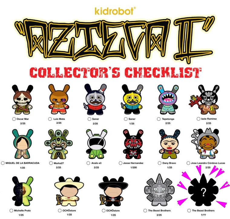 Kidrobot Dunny Azteca Series II Checklist and Ratios